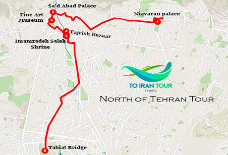 Map of 1 Day North of Tehran Tour