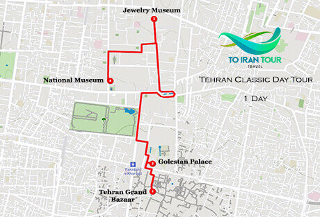 Map of 1 Day Tehran Classic Day Tour