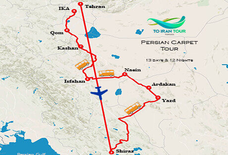 Map of 13 Days Persian Carpet Tour