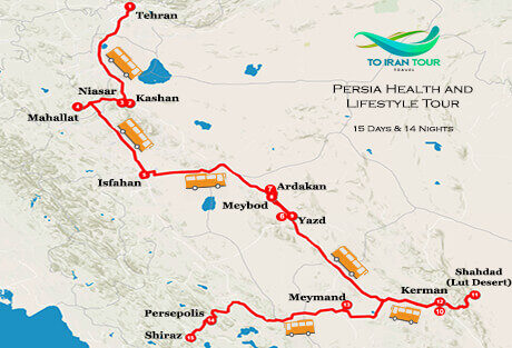 Map of 15 Days Persia Health and Lifestyle Tour