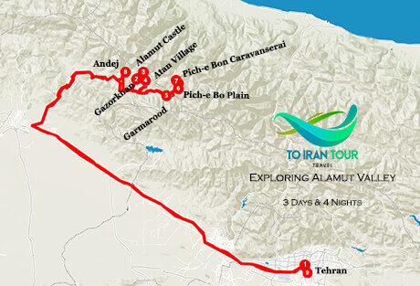 Map of 3 Days Exploring Alamut Valley Tour