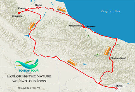 Map of 6 Days Exploring the Nature of North in Iran