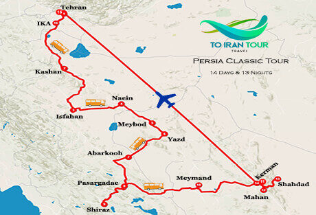 map of 14 Days Persia Classic Tour