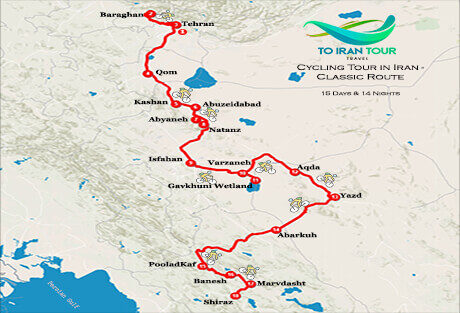 Map of 15 Days Cycling Tour in Iran - Classic Route