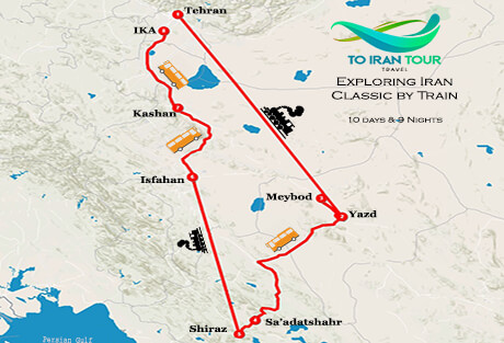 Map of Exploring Iran Classic by Train in 10 Days