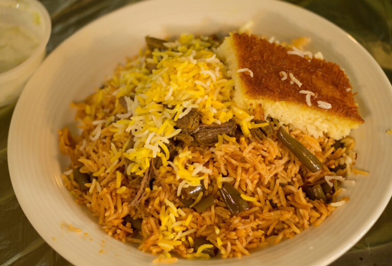 Loobia Polo with Tahdig, a Top Iranian Foods to Try While Visiting Iran