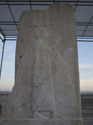 The winged man lithography in Pasargadae