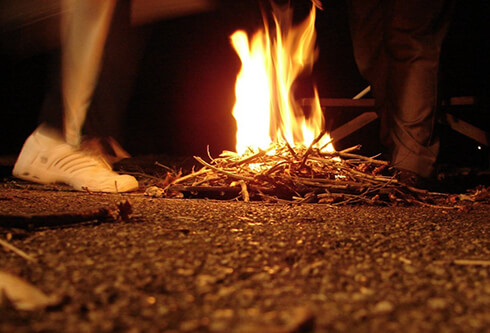 Jumping on fire in chaharshanbe suri
